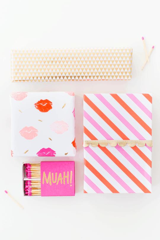 DIY lip patterned gift wrap   sugar and cloth