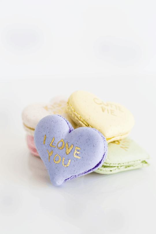 DIY conversation heart macarons   sugar & cloth
