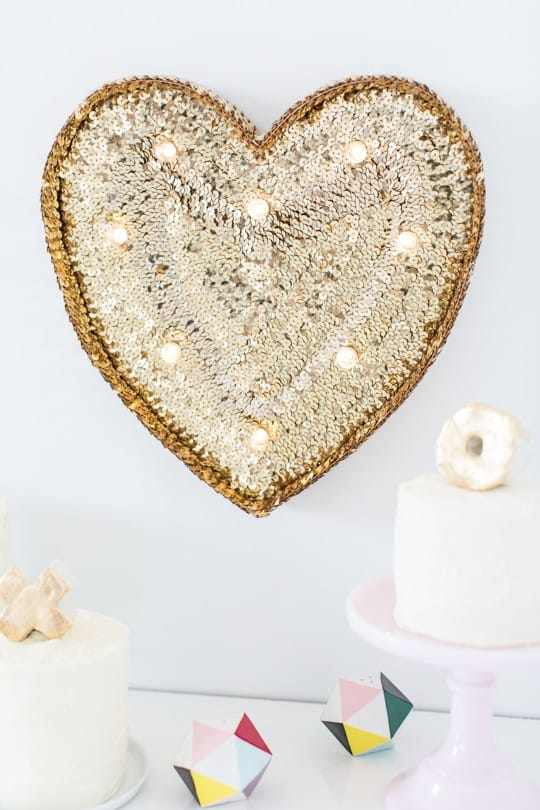 DIY sequin marquee heart sugarandcloth.com