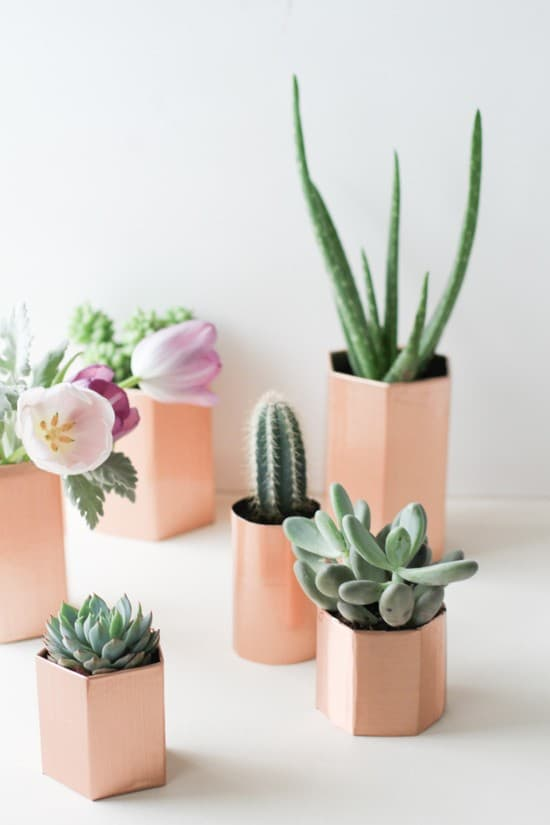 DIY faux metal hexagon planters by Paper & Stitch
