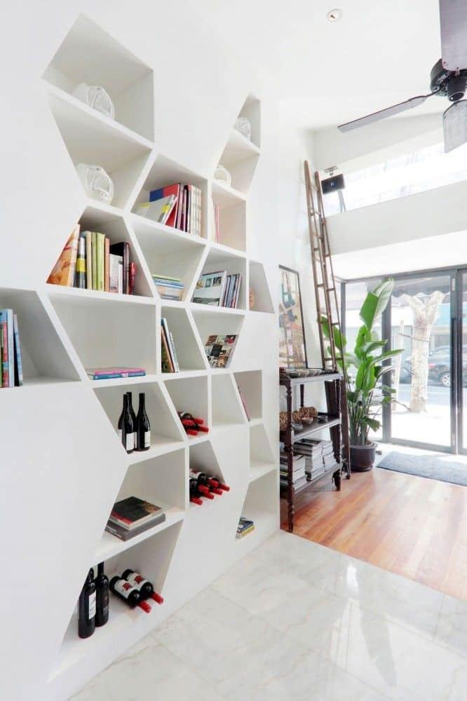 built in hexagon shelves