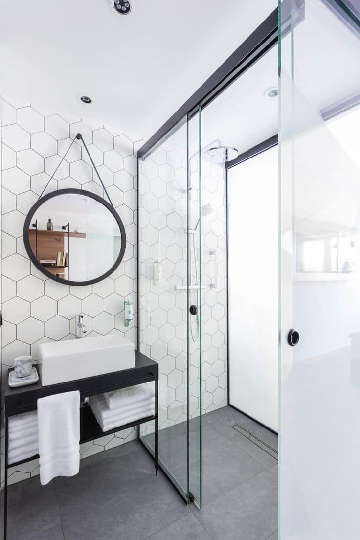 hexagon bathroom tile decor