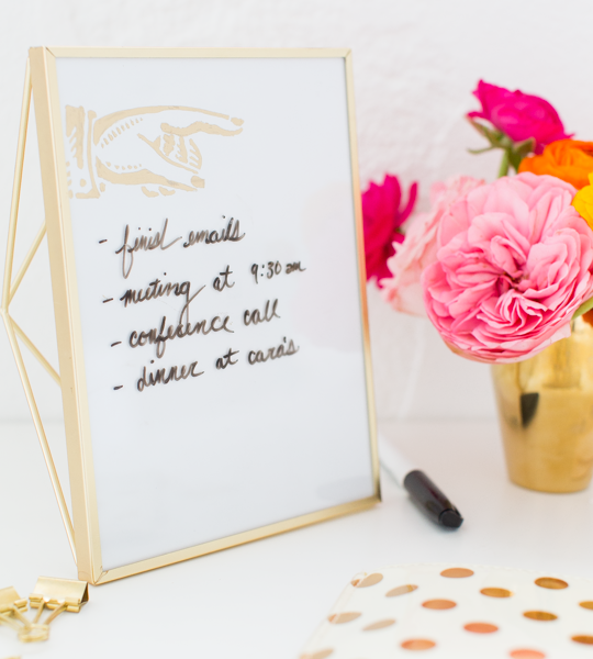 DIY Desktop Dry Erase Board | sugar & cloth