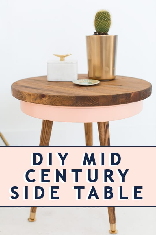 photo of a modern diy mid century side table by top Houston lifestyle blogger Ashley Rose of Sugar & Cloth