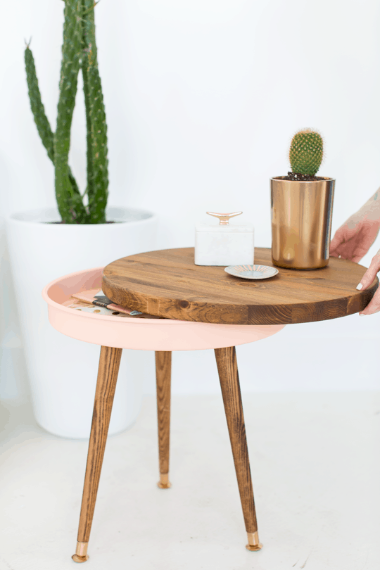 DIY Mid Century End Table | By top Houston Lifestyle Blogger Ashley Rose of Sugar & Cloth #midcentury #modern #sidetable #homedecor #livingroom #diy #diydecor