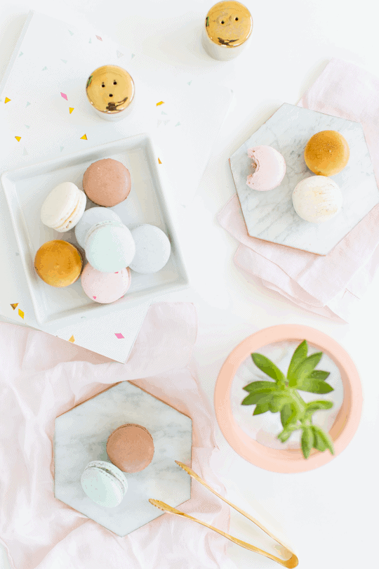 DIY gilded marble hexagon serving boards for under $5 | sugar & cloth