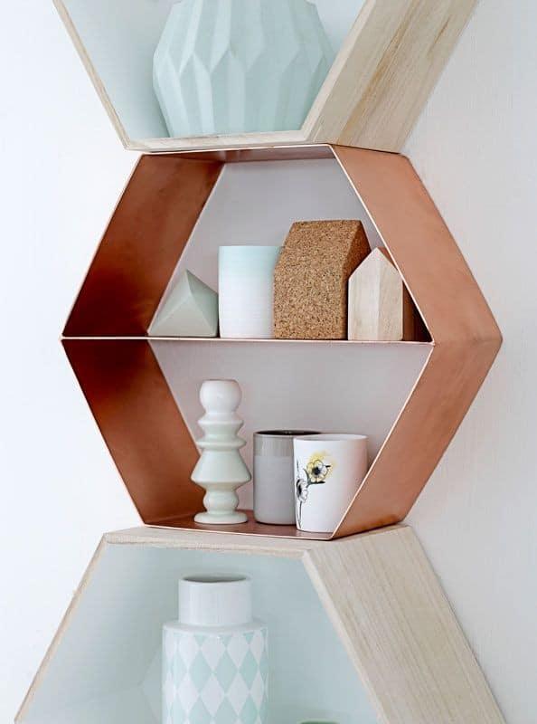 hexagon shelf by bloomingville