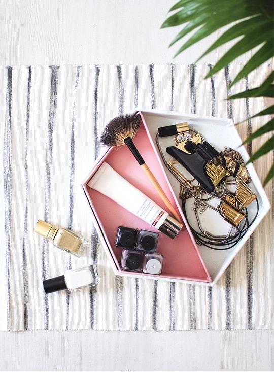 DIY Leather Hexagon Vanity Tray | sugar & cloth