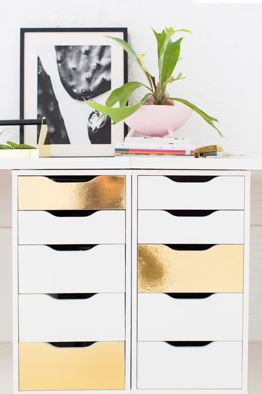 DIY faux brass drawer fronts | sugar & cloth