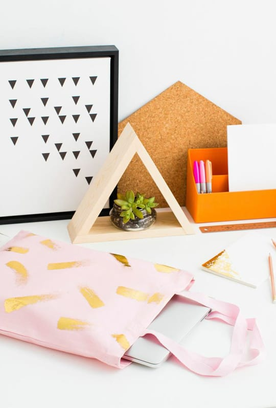 DIY gold foil brushstroke tote bag kit   sugar & cloth