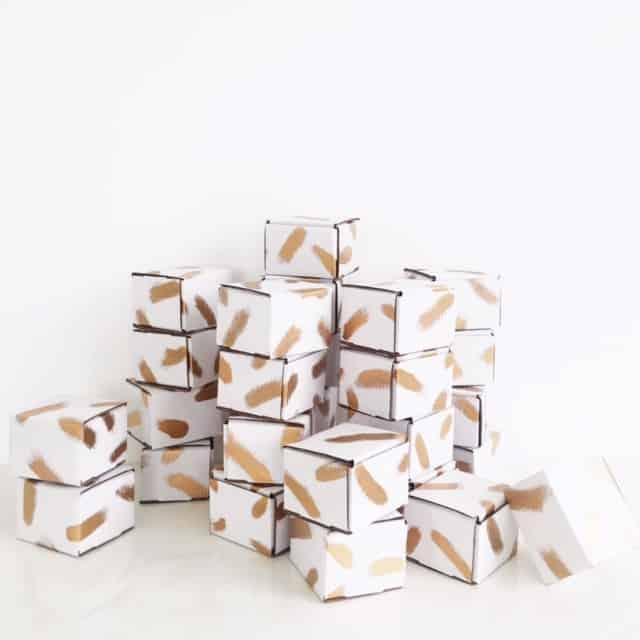gold brushstroke shipping boxes