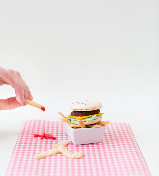 DIY mini cheeseburger and french fries with a mini milkshake to top it off! | sugar & cloth