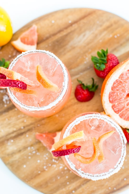 strawberry grapefruit salty dog recipe - sugar & cloth