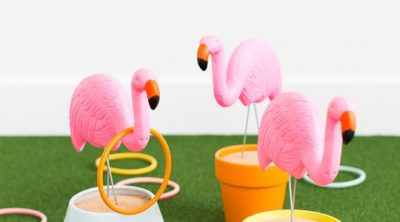 photo of a backyard games idea DIY flamingo ring toss yard game - sugar & cloth