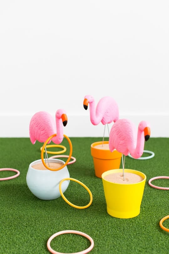 DIY flamingo ring toss yard game - sugar & cloth