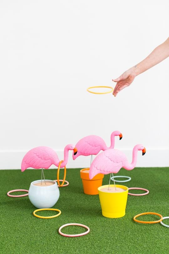 photo of the DIY flamingo ring toss yard game by Ashley Rose of Sugar & Cloth, an award winning DIY and entertaining blog.