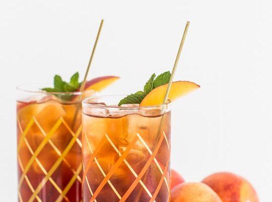 peached iced tea cocktail recipe   sugar & cloth