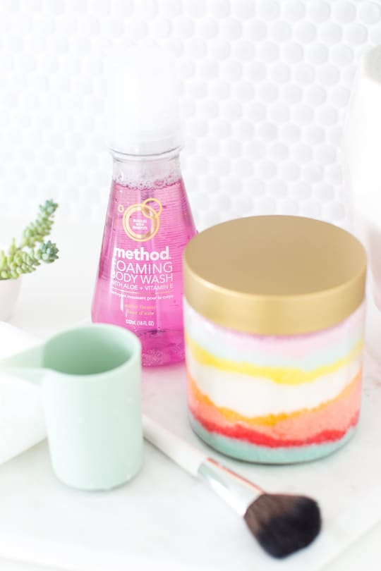 DIY Sugar Scrub Sand Art by top Houston lifestyle blogger Ashley Rose of Sugar & Cloth - #sand #relax #reset #sandart #gift #host #sugarscrub #scrub #diy #recipe #colorful