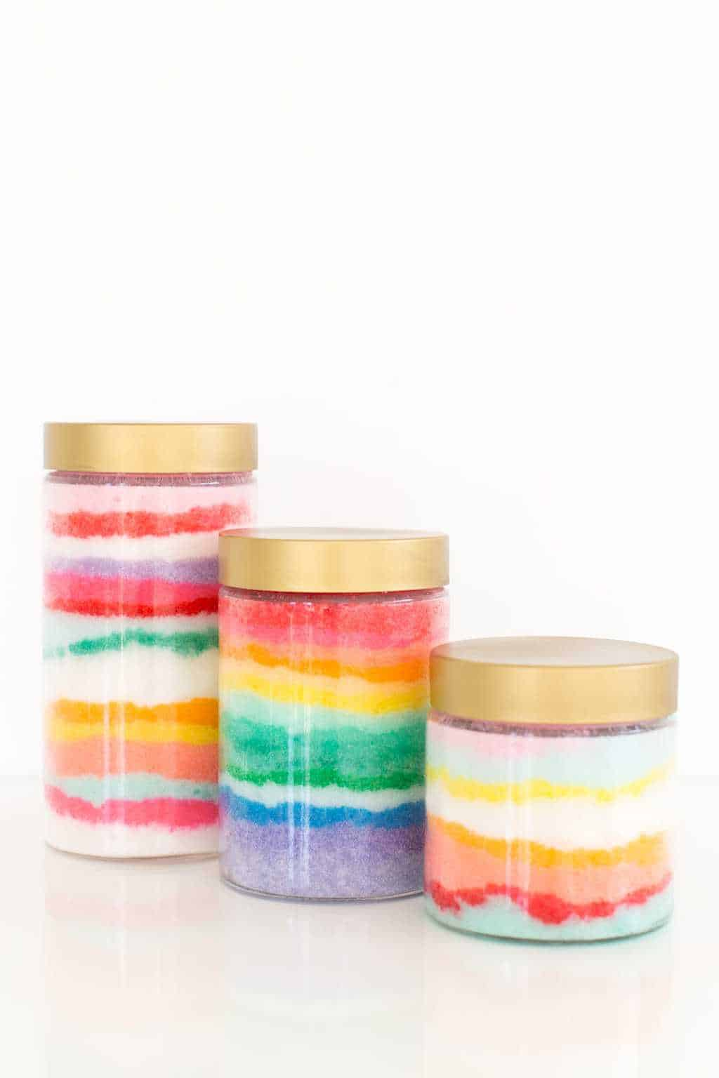 photo of the different color ways and patterns you can make for your own DIY sugar scrub by top Houston lifestyle blogger Ashley Rose of Sugar & Cloth
