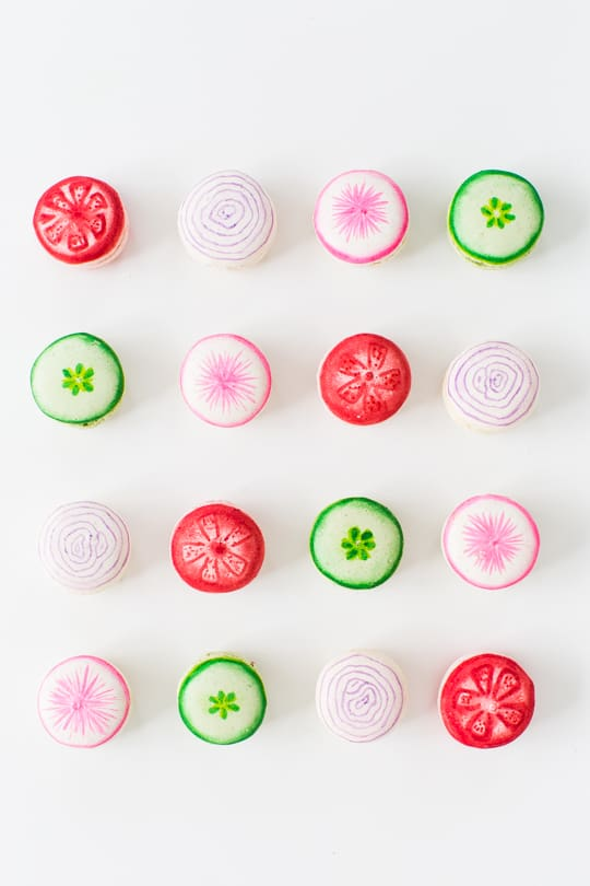 DIY veggie kabob macarons - Sugar & Cloth