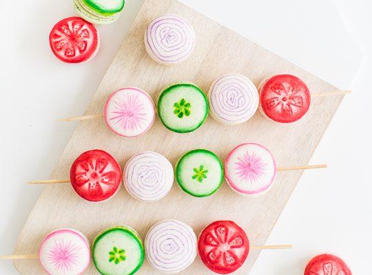 DIY veggie kabob macarons - Sugar & Cloth