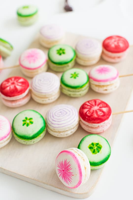 DIY Veggie Kabob Macarons | Sugar & Cloth