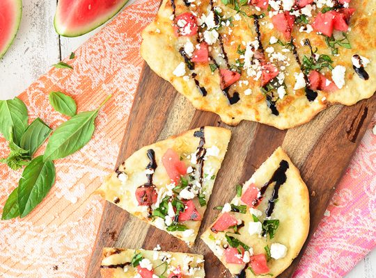 watermelon feta flatbread recipe! - sugar & cloth