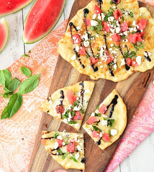 watermelon feta flatbread recipe! - sugar & cloth