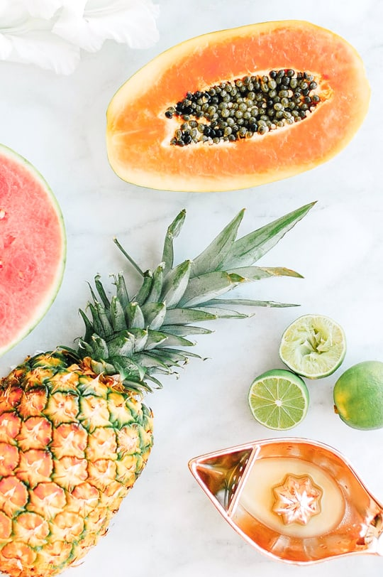 watermelon papaya rum smoothie - sugar & cloth