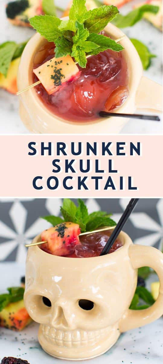 photo of the recipe card on how to make a Shrunken Skull Cocktail recipe for a Halloween cocktail by top Houston lifestyle blogger Ashley Rose of Sugar & Cloth