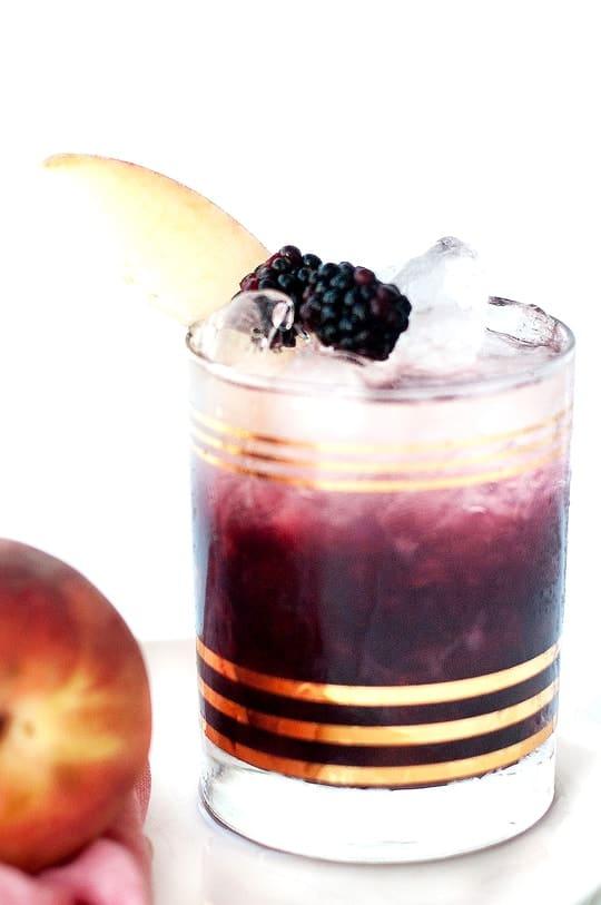 Peach and Blackberry Bramble Cocktail Recipe - Sugar and Cloth