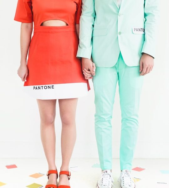 Man and Woman in DIY Couples costume: Pantone colors