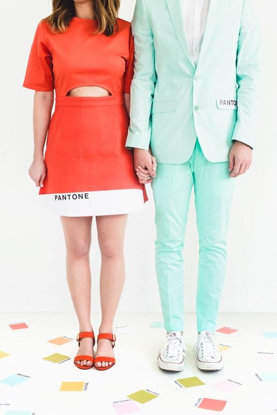 Man and Woman in DIY Couples costume: Pantone colors
