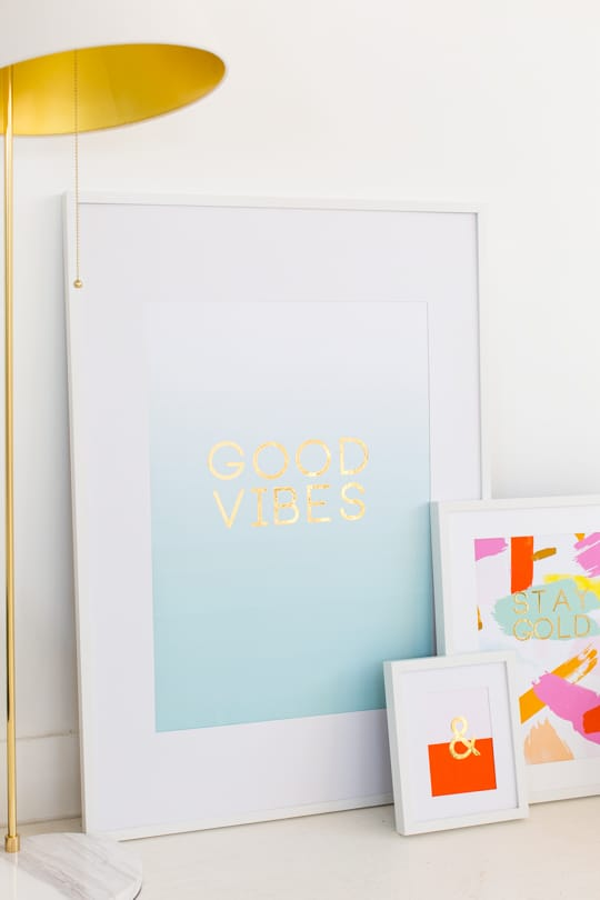 DIY gold foil wall art and printables quotes - sugar and cloth