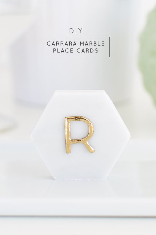 DIY carrara marble place cards - sugar and cloth