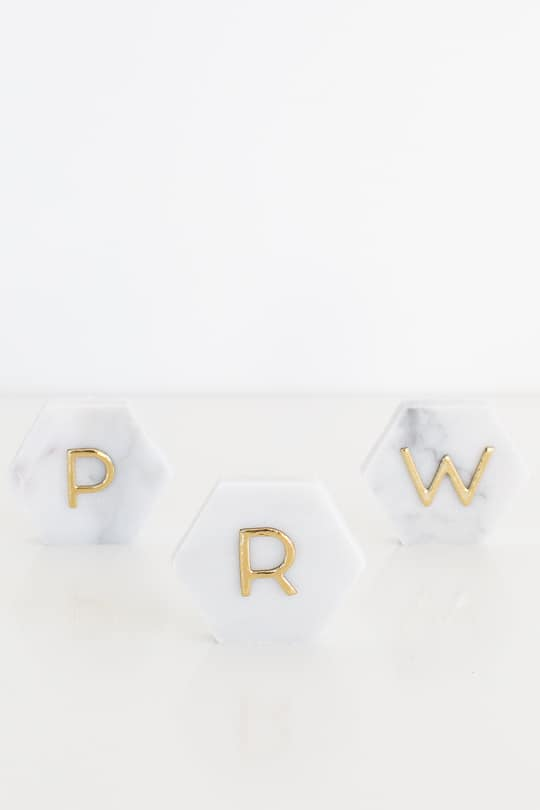 DIY Marble Hexagon Place Cards-7