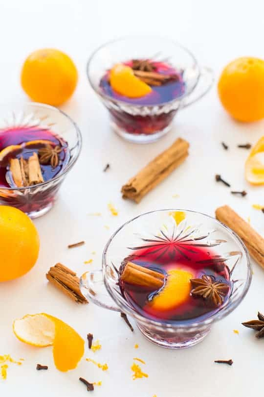 Garnish ideas for Simple Pot Hot Spiced Wine Recipe by Houston blogger, Ashley Rose of Sugar & Cloth #holiday #wine #mulled #pot #spicedwine #hotwine #simple #christmas #thanksgiving