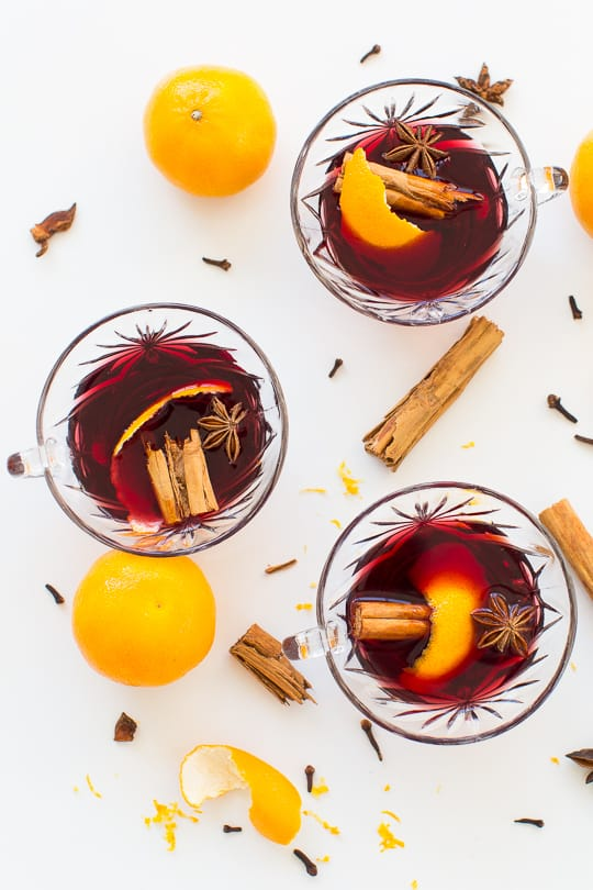 Overhead shot of Simple Pot Hot wine cocktails by Houston blogger, Ashley Rose of Sugar & Cloth #holiday #wine #mulled #pot #spicedwine #hotwine #simple #christmas #thanksgiving