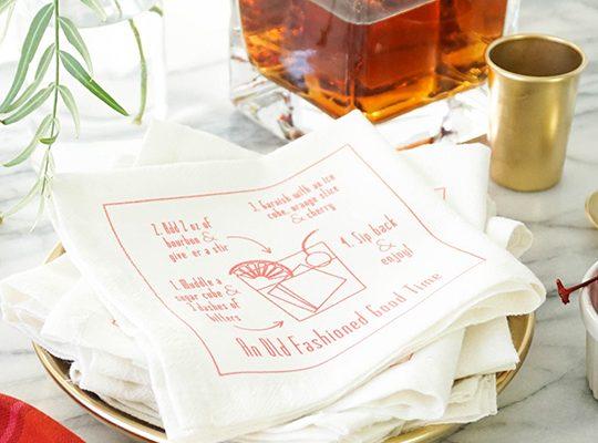 DIY recipe cocktail napkins - sugar & cloth