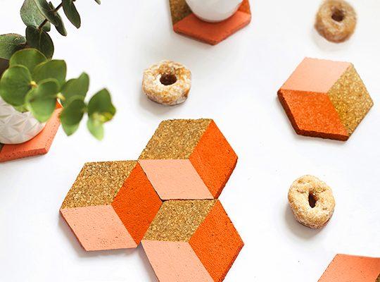 DIY geometric coasters - sugar and cloth
