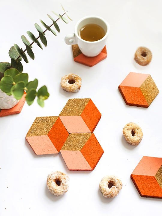 DIY geometric coasters - sugar and cloth