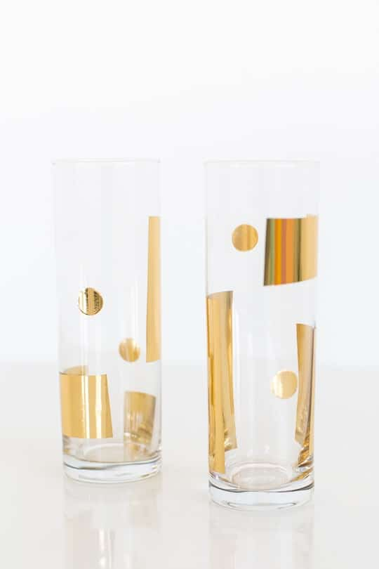 DIY metallic patterned glassware - sugar & cloth