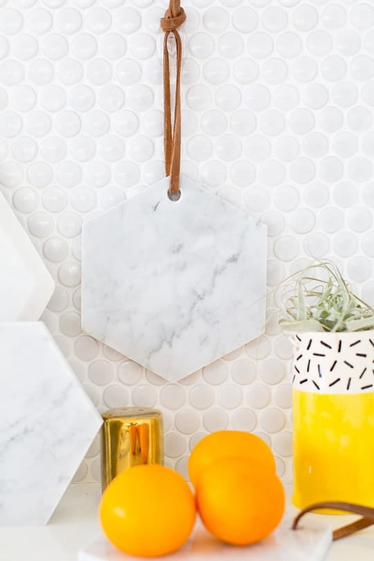 DIY hanging marble serving board - sugar & cloth