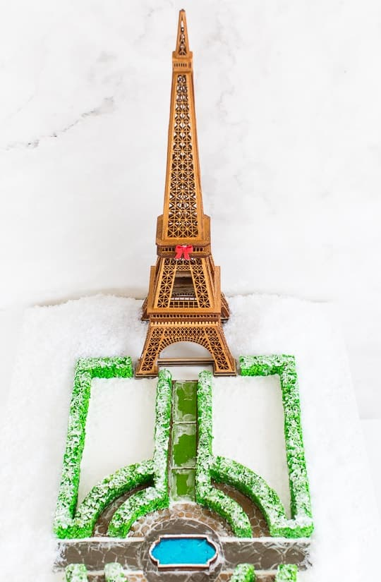 merry christmas and an eiffel tower gingerbread house sugar cloth