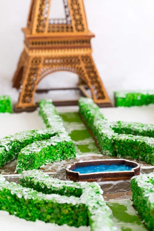 eiffel tower gingerbread house - paper flour ink - sugar and cloth