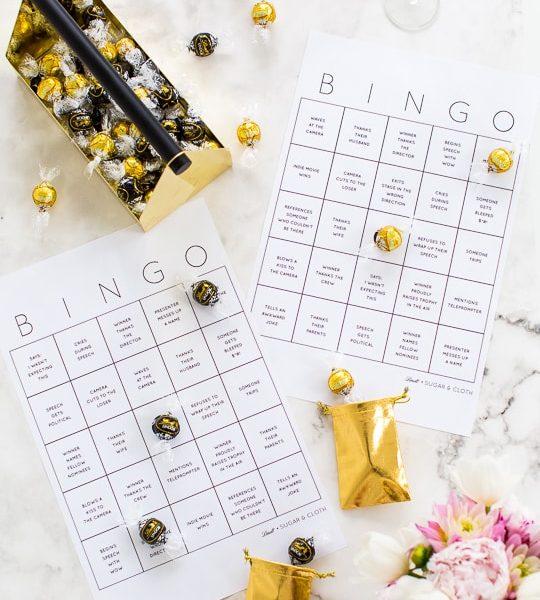 DIY truffle bingo printable template - blank bingo - golden globes bingo - sugar and cloth