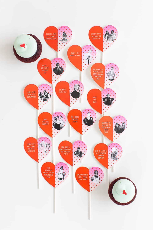 DIY pop culture lyrics cupcake toppers - sugar and cloth