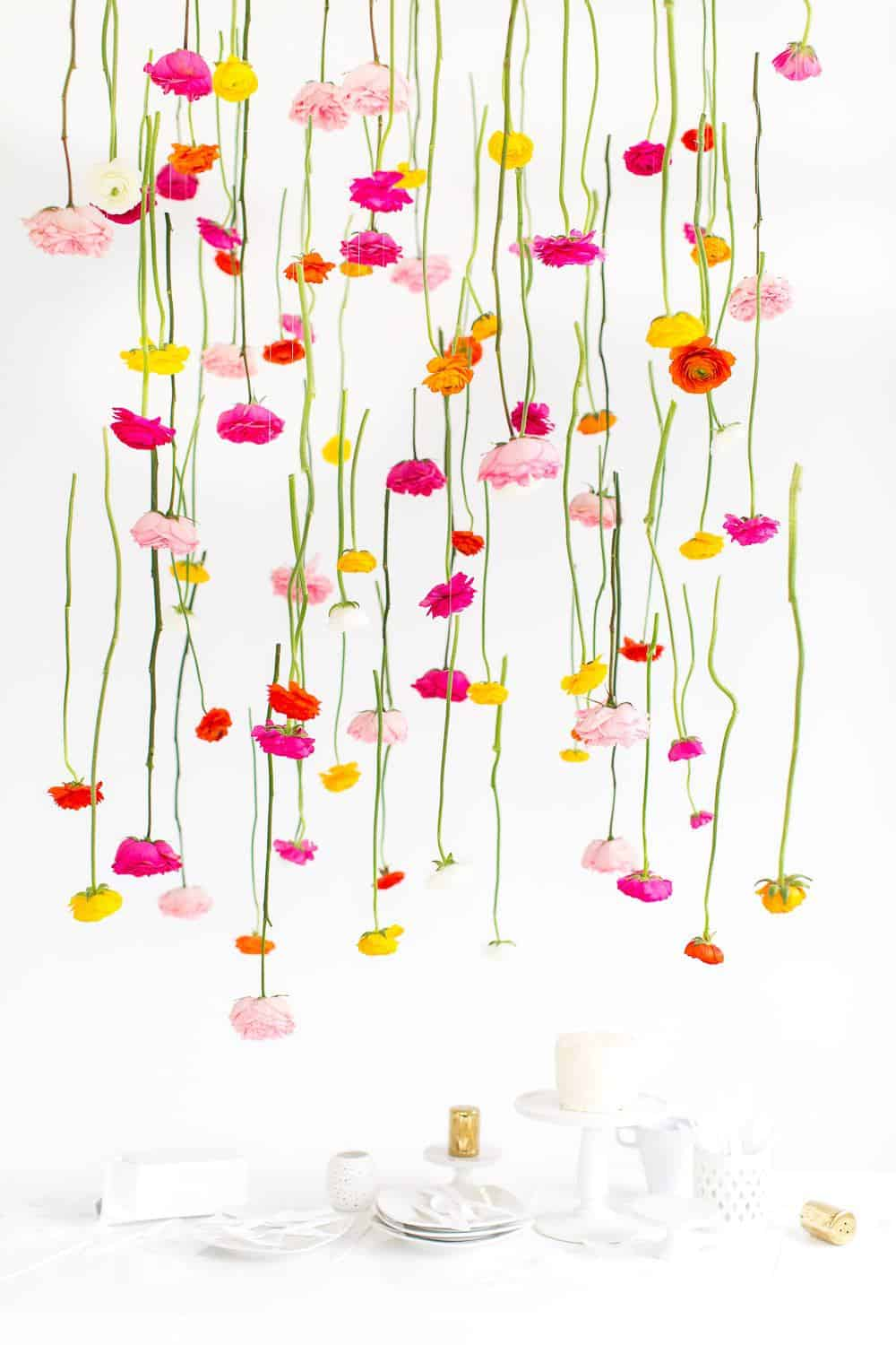 DIY hanging flower installation - sugar and cloth