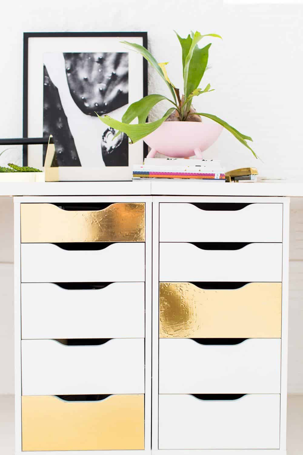 DIY metallic gold drawer fronts - sugar and cloth