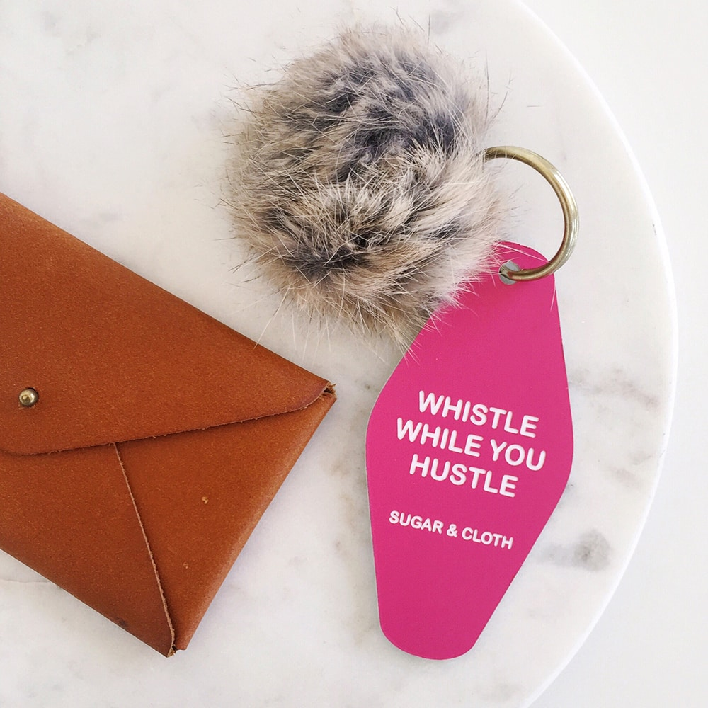 whistle while you hustle keychain - sugar and cloth